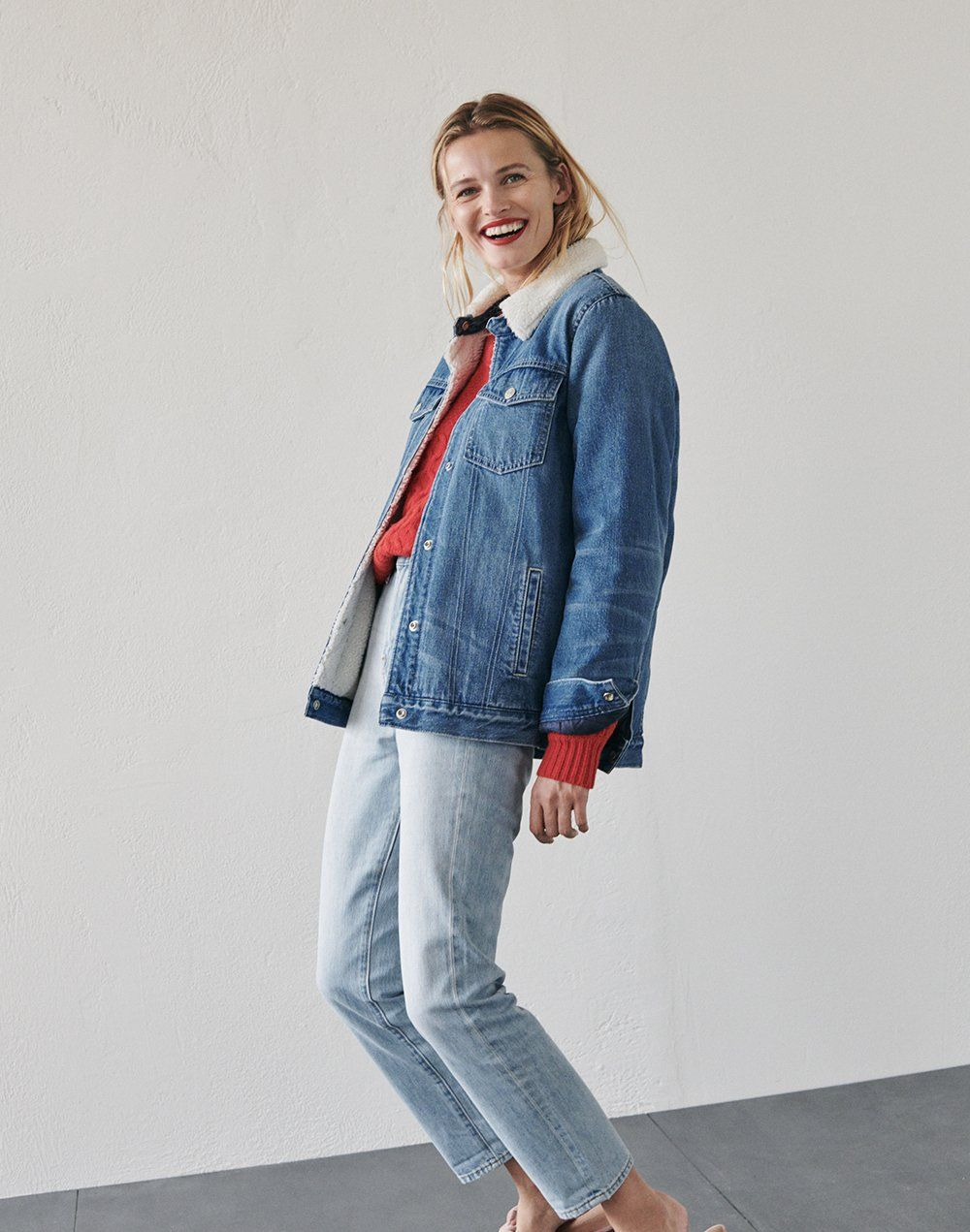 madewell oversized jean jacket  sherpa edition worn with copenhagen cable  sweater + the perfect vintage jeans. 7a841ff5ee