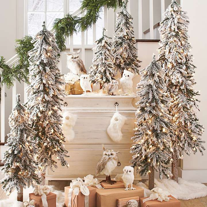 Pretty flocked trees love the owls pre lit alpine tree for Alpine decoration