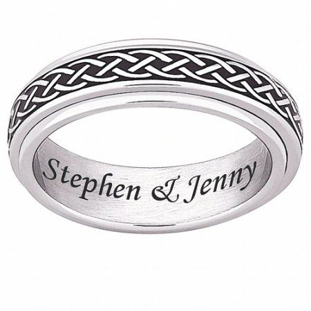Personalized Stainless Steel Celtic Knot Spinner Band Men S