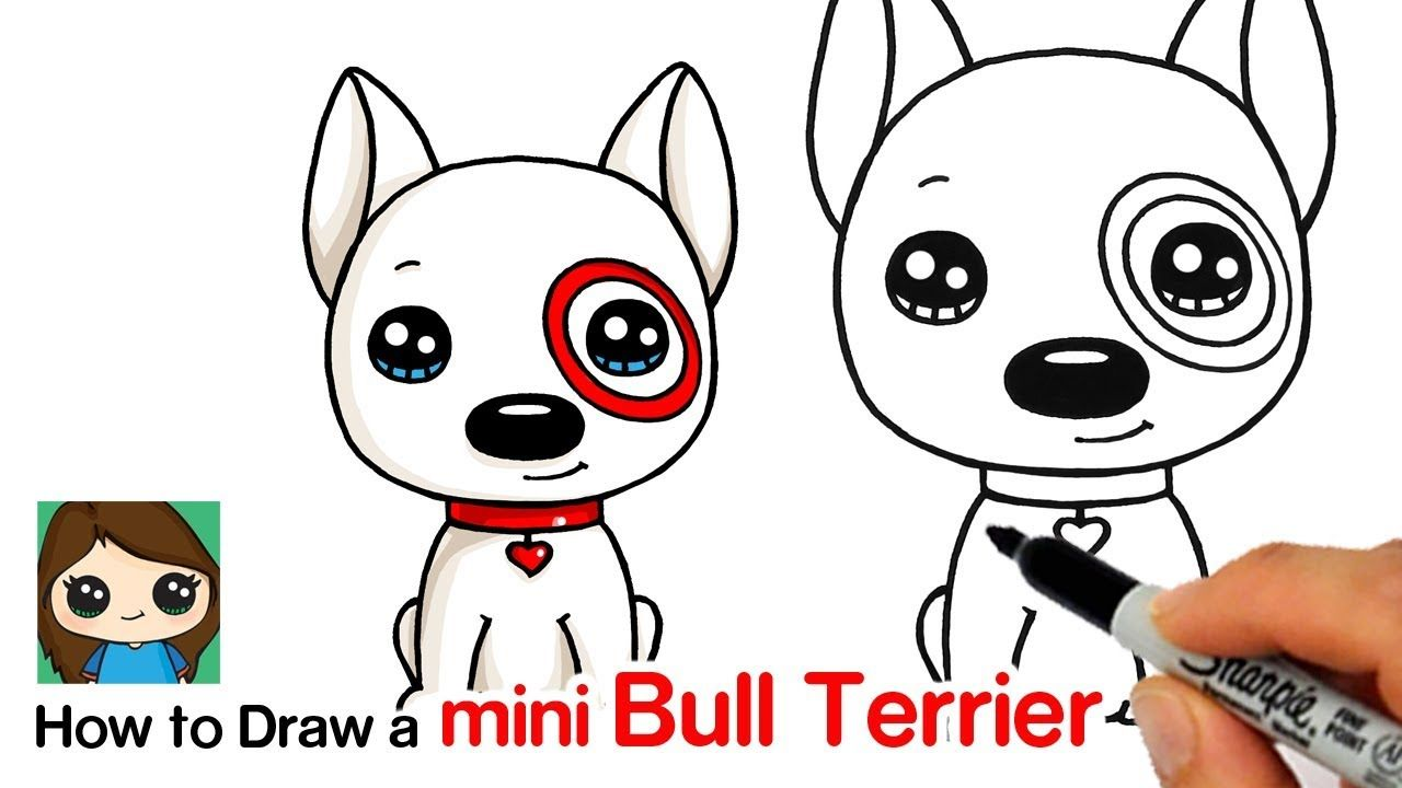 How To Draw A Mini Bull Terrier Dog Target Bullseye Cute Drawings Cute Disney Drawings Mini Bull Terriers