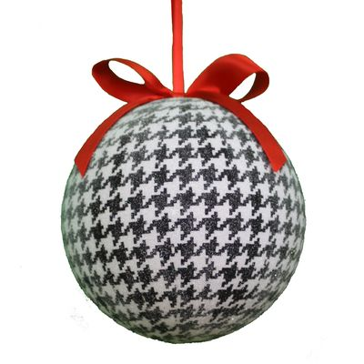 """Houndstooth Ball Christmas Ornament Size: 4"""" Color: Black ..."""