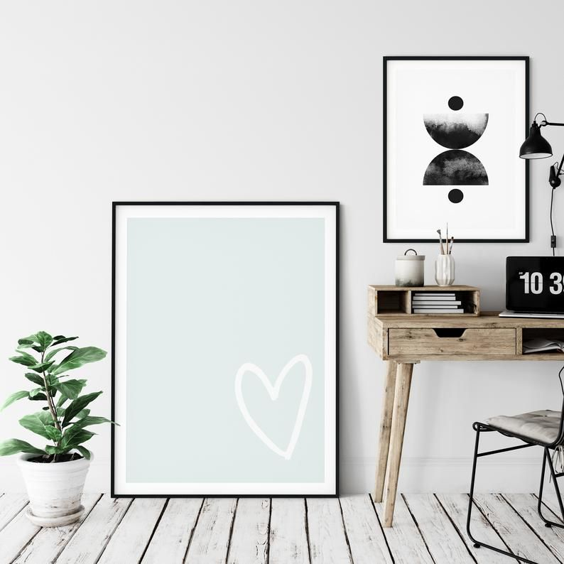 Pale Blue Heart Printable By Crayon Stationery Sign Up To My Newsletter To Receive A Discount On Your Fir Gallery Wall Printables Pastel Wall Art Pastel Walls