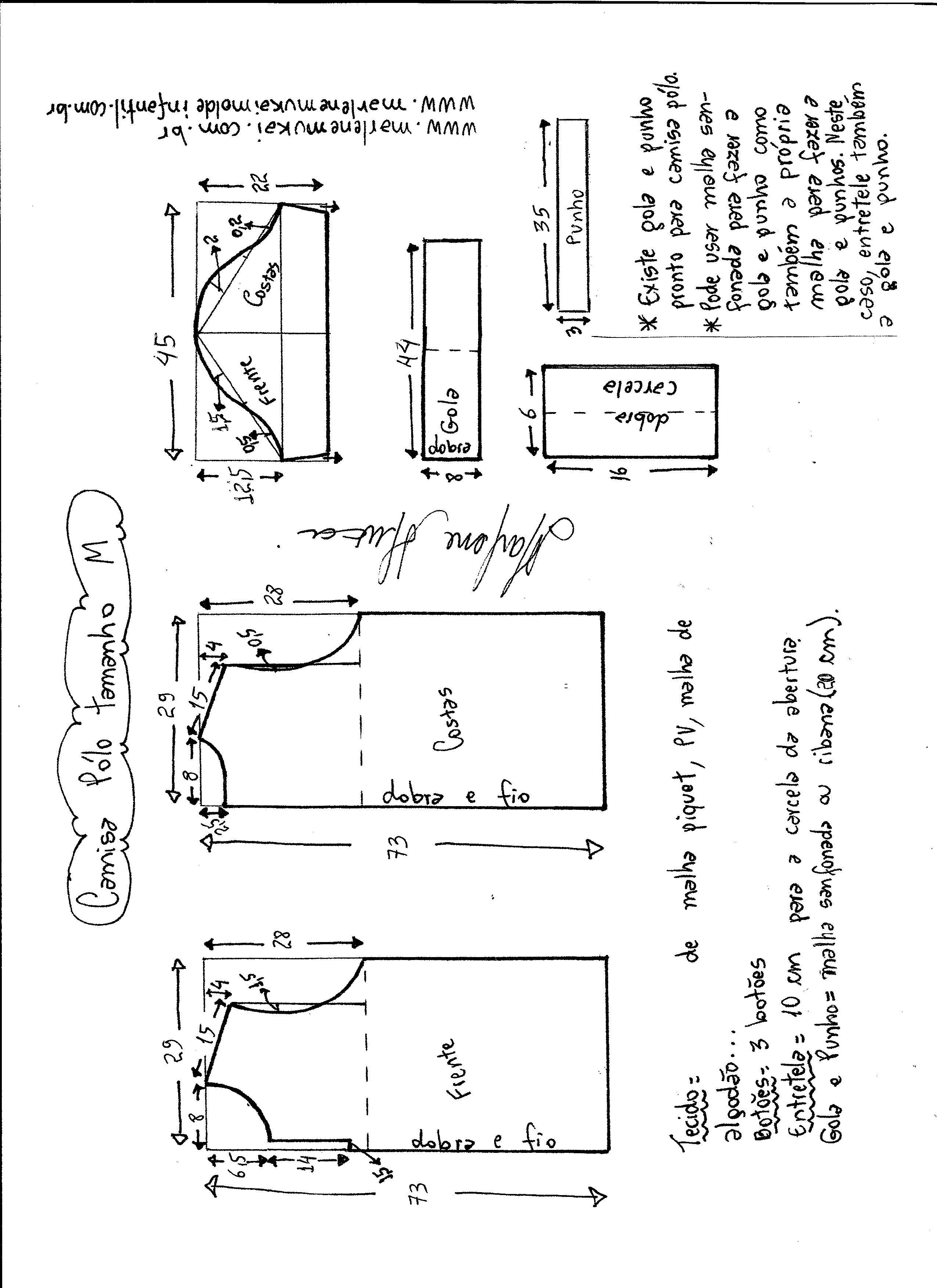 7fb31102cd Esquema de modelagem de camisa pólo masculina tamanho M.
