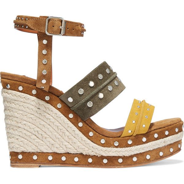 Lanvin Studded suede espadrille wedge sandals ($1,190) ❤ liked on Polyvore  featuring shoes,