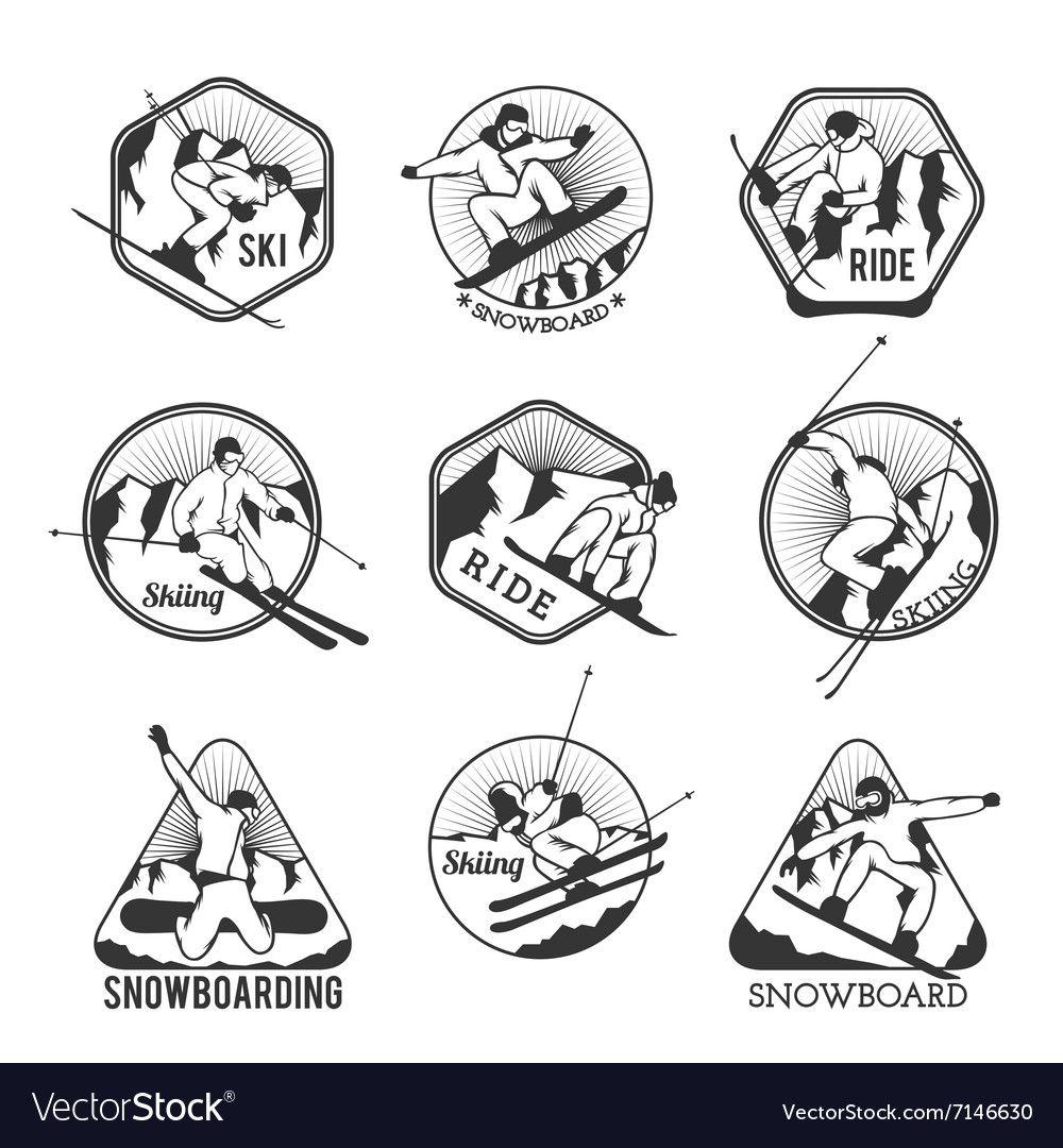 Ski Resort Logo Emblems Labels Badges Vector Image On Vectorstock Resort Logo Emblem Logo Vintage Ski