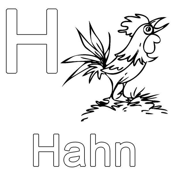 Ausmalbild Buchstaben lernen Kostenlose Malvorlage H wie