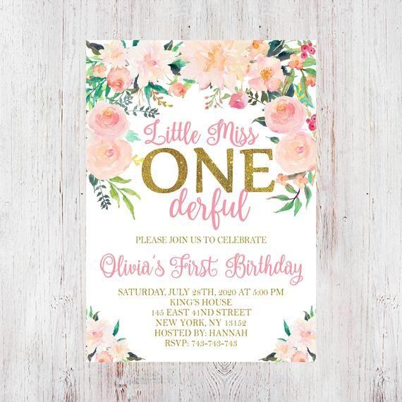 Miss Onederful Birthday, First Birthday Girl, Miss Onederful, Pink and Gold, 1st Birthday Invitation for Girl, First Birthday invitation 299 #firstbirthdaygirl
