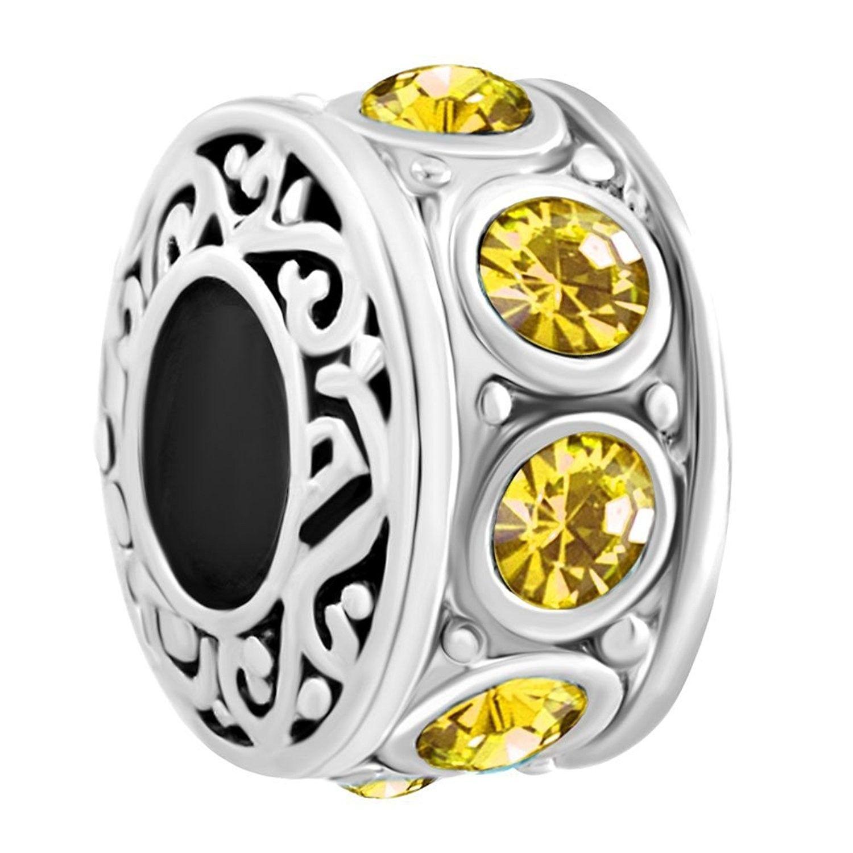 Third Time Charm Jan-Dec Birthday Spacer Charm Beads for European Charm Bracelets