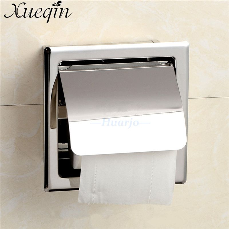Wall Mount Concealed Install Toilet Paper Holder Inside Wall