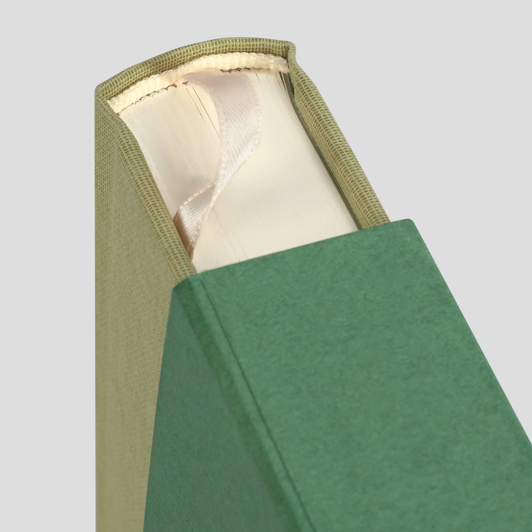 Detail of the book spine, binding, slipcase and ribbon marker for the new Folio edition of Revelations of Divine Love.