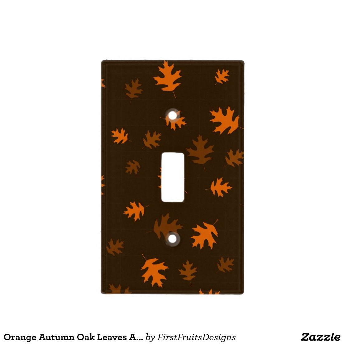 Orange Autumn Oak Leaves Against Dark Brown Light Switch Cover Bed