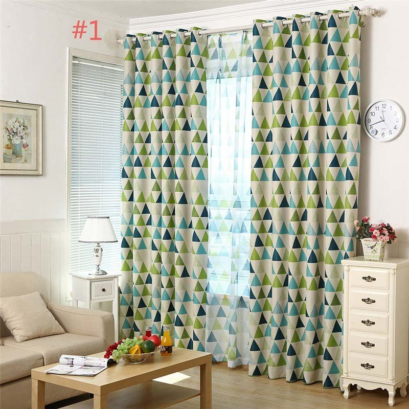 Nordic Geometry Curtain Green Triangle Curtain Living Room Bedroom