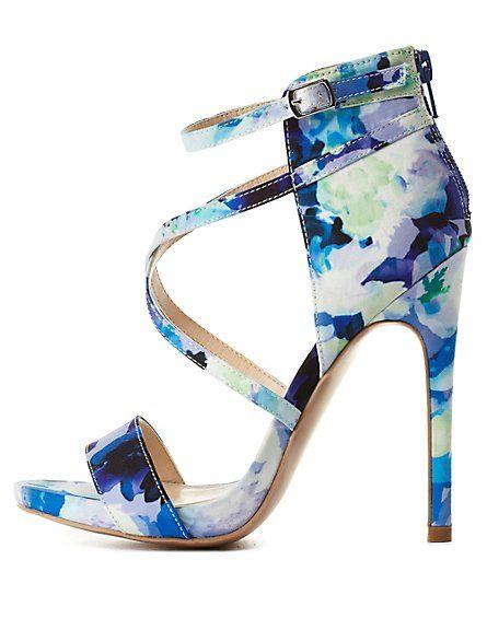 1e4e30764fa Strappy Floral Print High Heels: Charlotte Russe #CRshoecloset ...