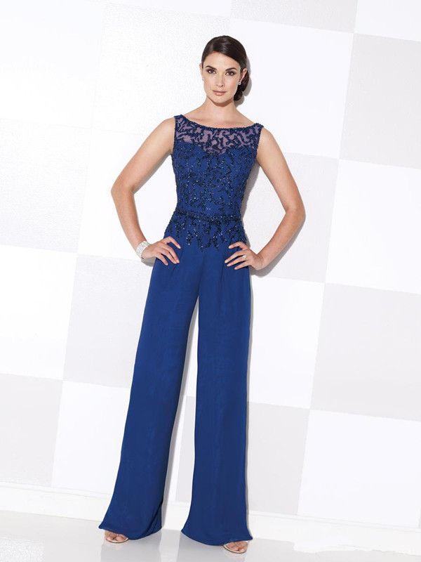 Royal Blue Madre elegante de la novia Pant Suits Plus Tamaño Madre de la  Novia Pantalones Trajes de fiesta de la boda de playa Pant Suits gasa fc8a57138e6
