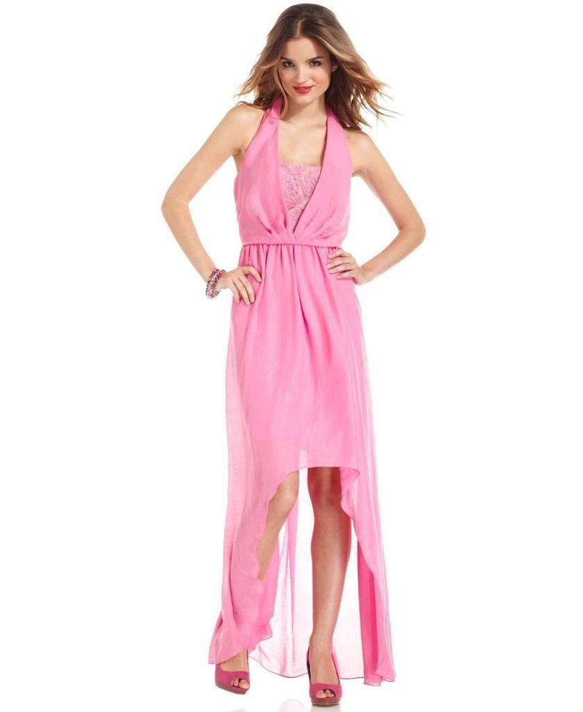 Jessica Simpson Super Pink Asymmetrical High Low Hem Halter Dress ...