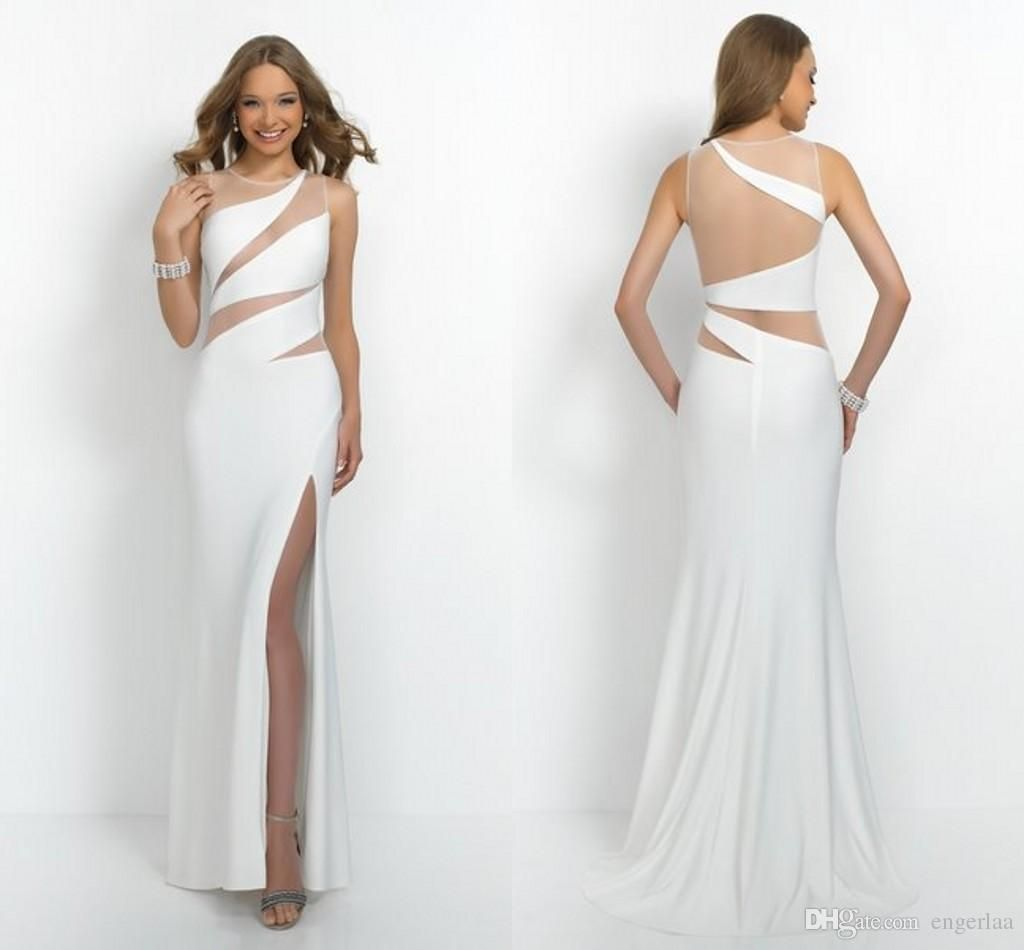 White see through prom dresses sexy high side split sheath