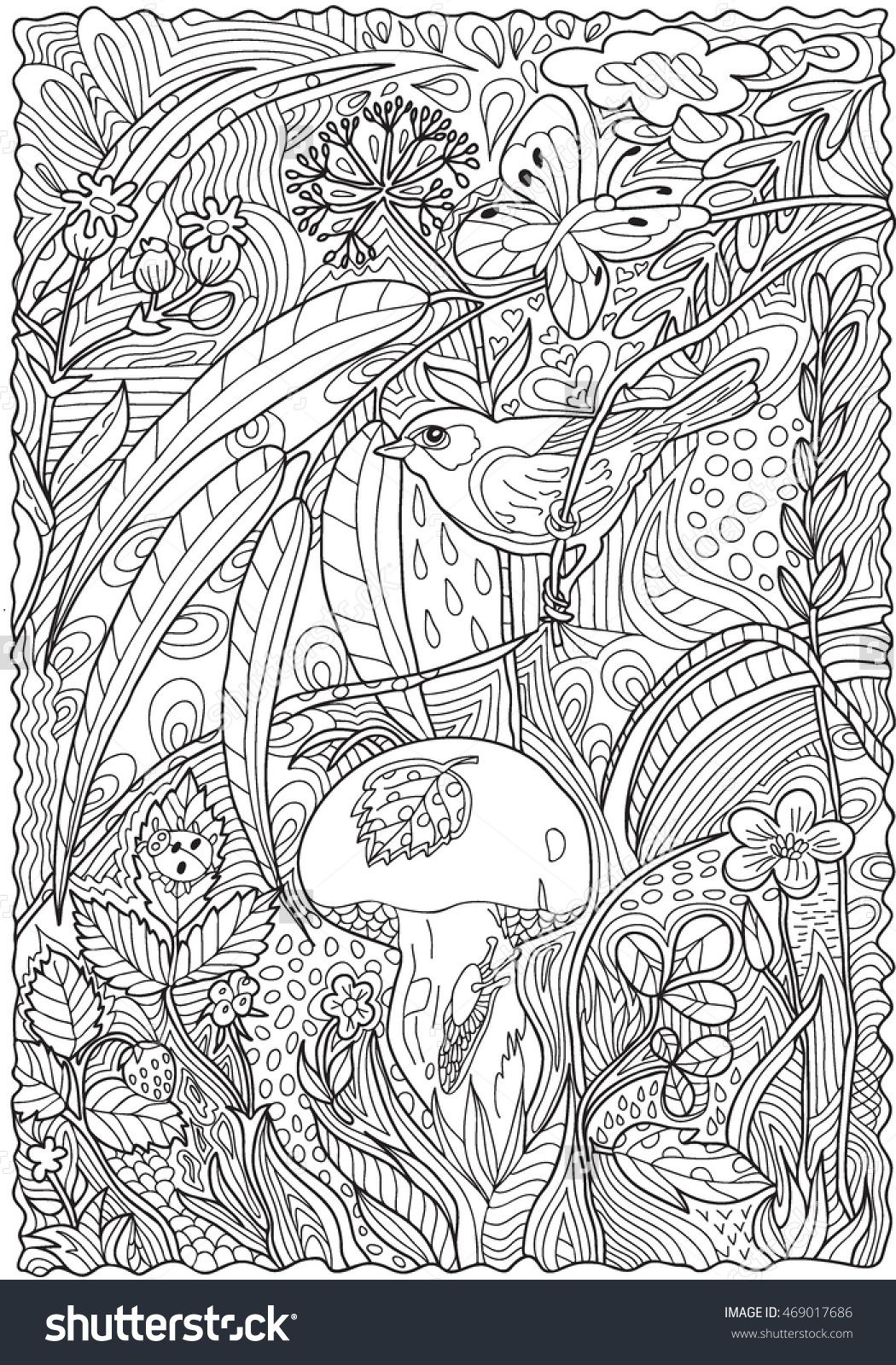 Pattern for coloring book Hand drawn Adults Black and white Floral