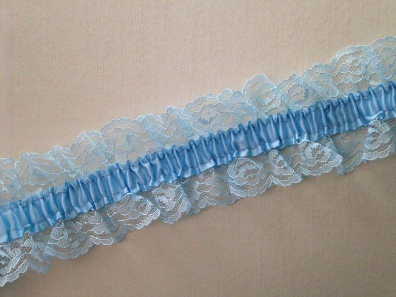 Bridal Garter Turquoise Organza with White Satin Garter Set Prom Garter Something Blue Bridal Accessory Cheer Garter