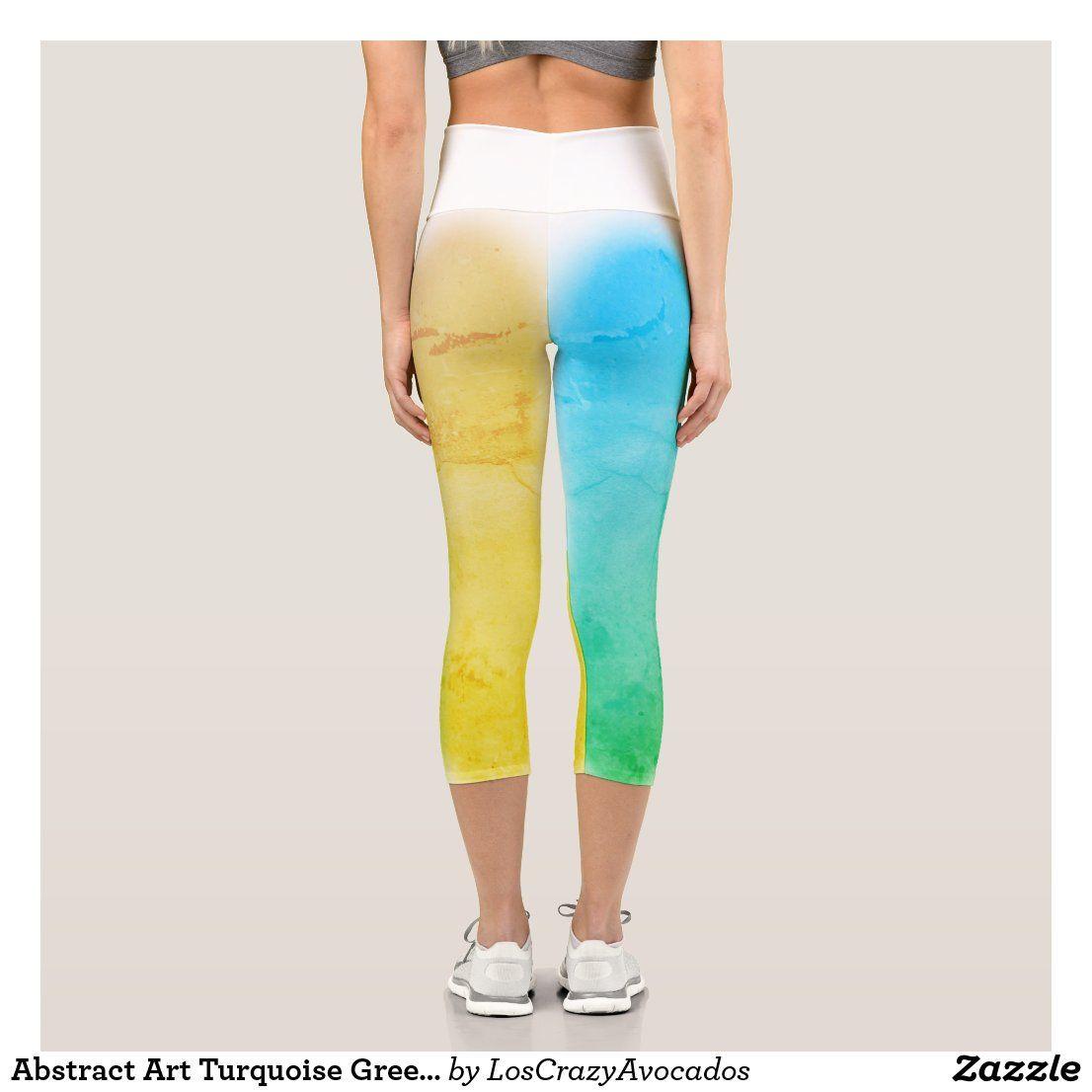 Regular Leggings Yoga Leggings Blue and Green Leaves Capri Colourful Art Custom Yoga Pants High Waist