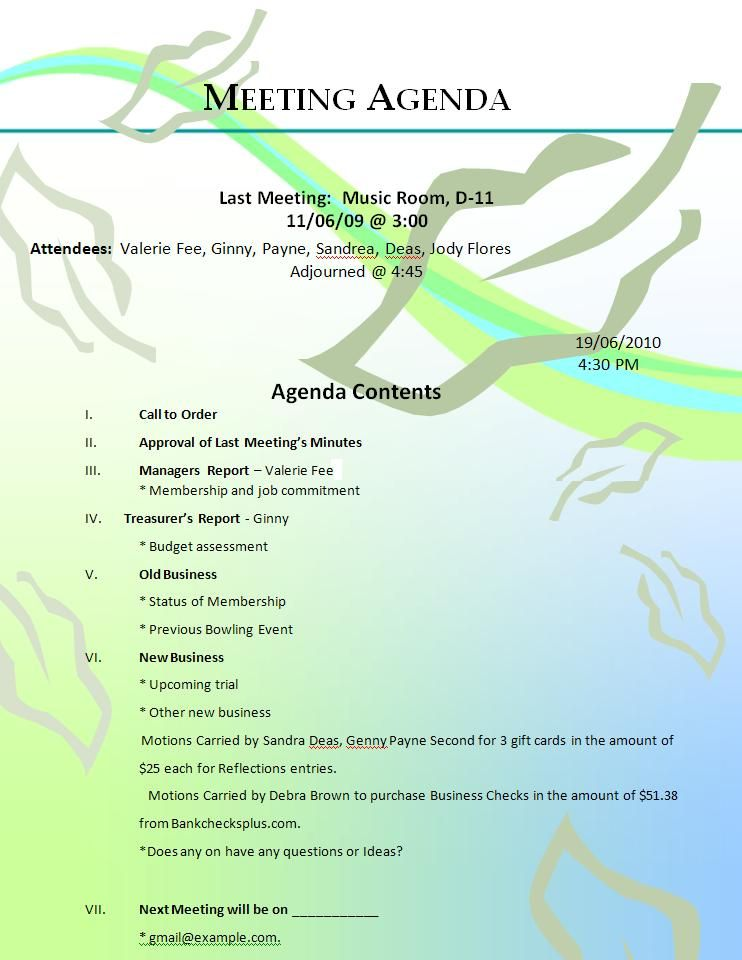Formal Meeting Agenda Meeting Agenda \ Templates Itinerary - sample agenda