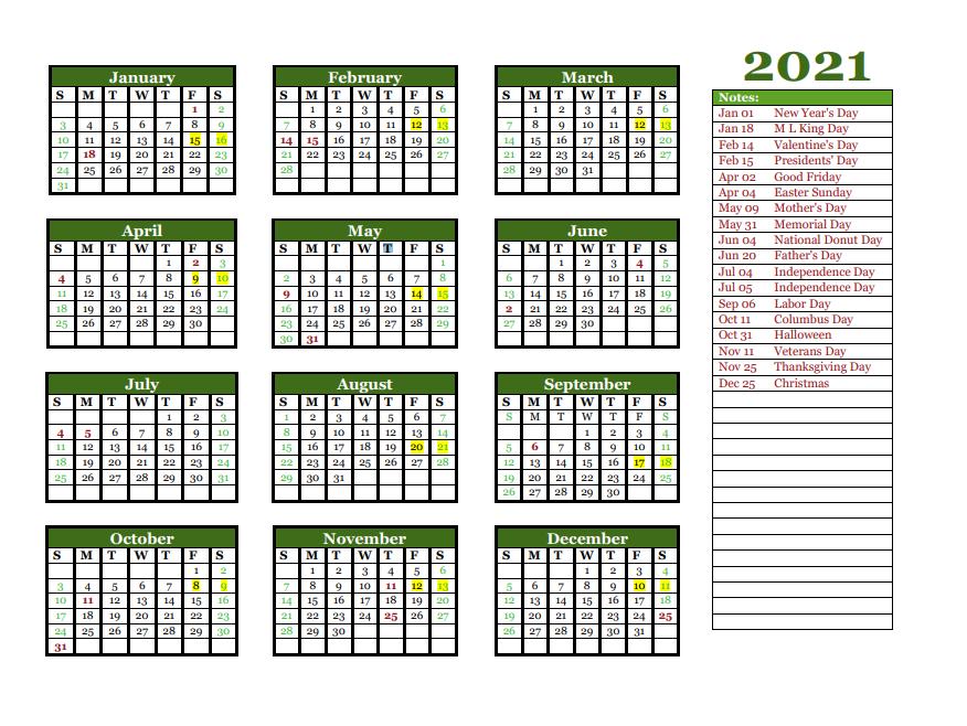 2021 Yearly Holidays Calendar in 2020 Calendar template