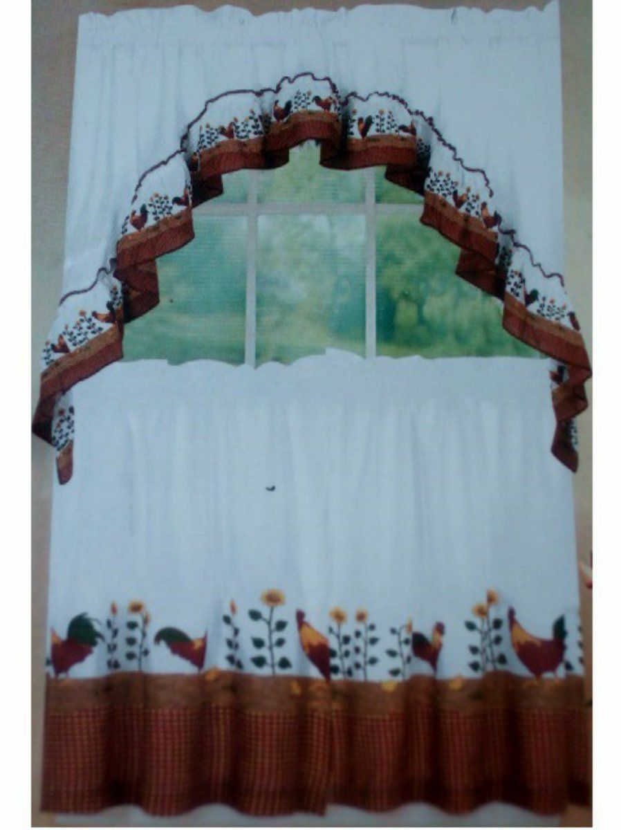 Country Roosters And Sunflowers Kitchen Curtains Set Country