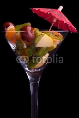Cup With Fruit Salad On Black Background © eZeePics Studio #29243442  From $1.50