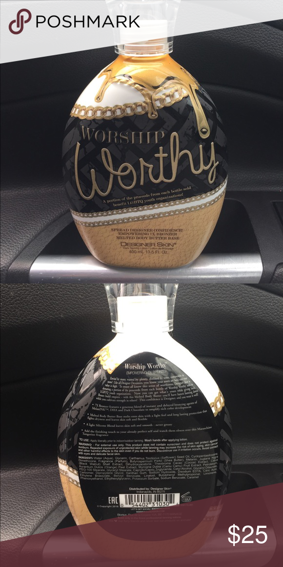 Worship Worthy Tanning Lotion This lotion was only used once! I'm only selling it because I have sensitive skin and it didn't react well. This lotion has 7x bringers and smells great! Designer Skin Other