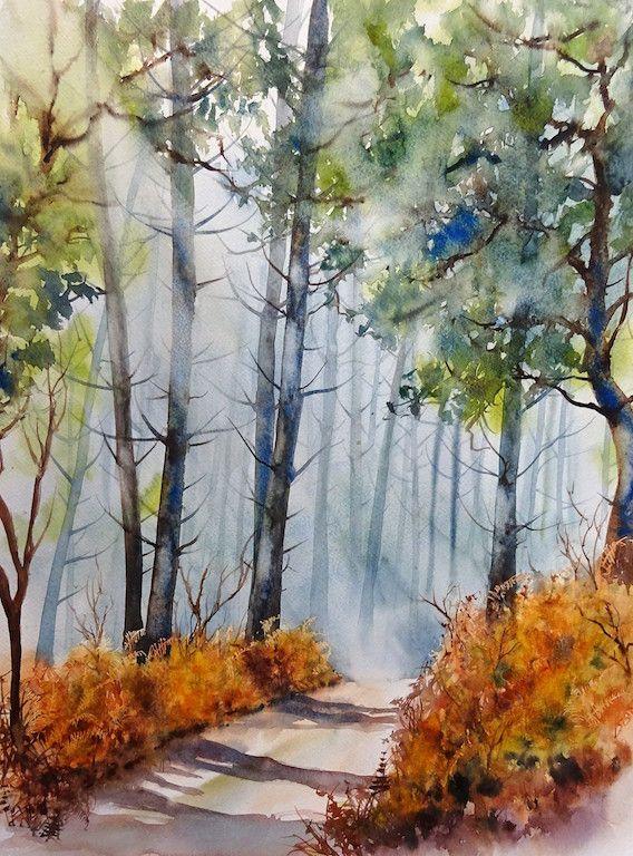 Aquarel L Or En Foret50x60 Peinture De Foret Arbres En