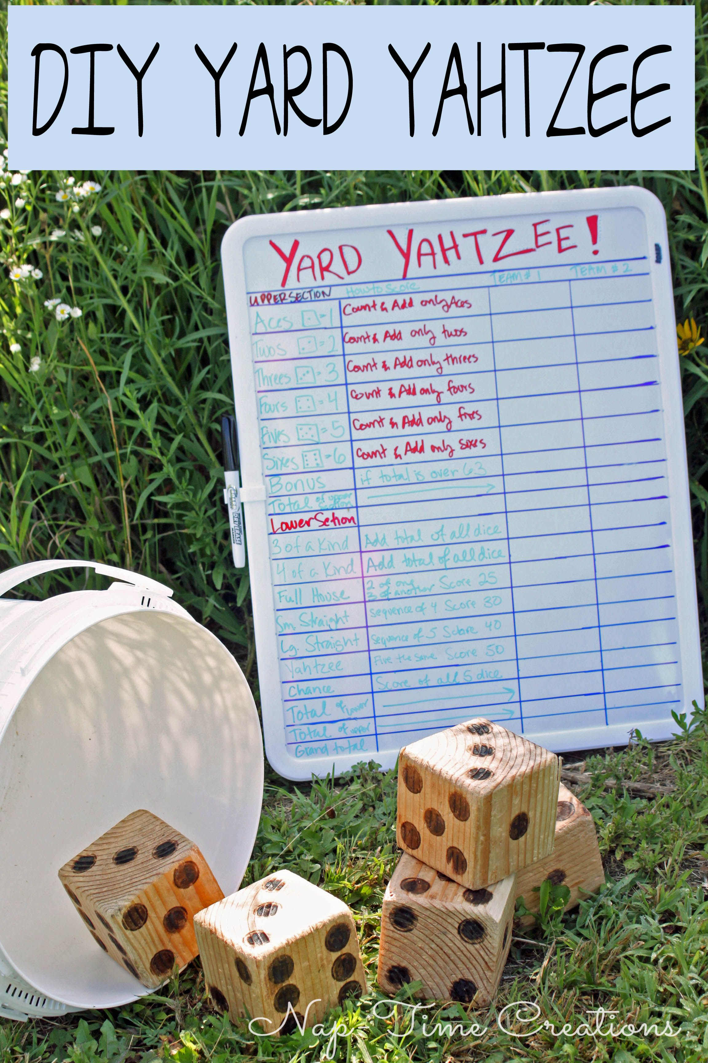 yard yahtzee DIY yard game easy to make fun to play