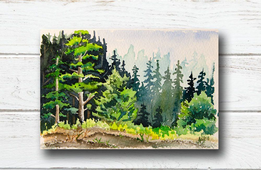 Landscape Watercolor Painting Hand Painted Etsy In 2019