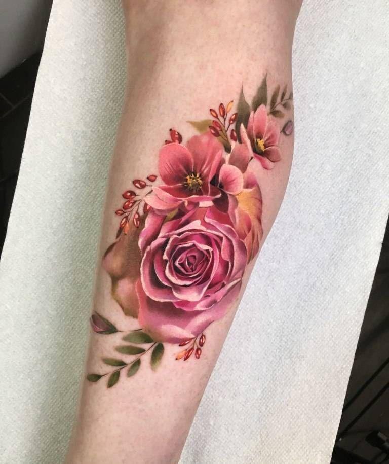 Pink Rose Tattoo On The Calf Tatuaje En Cicatriz Tatuajes