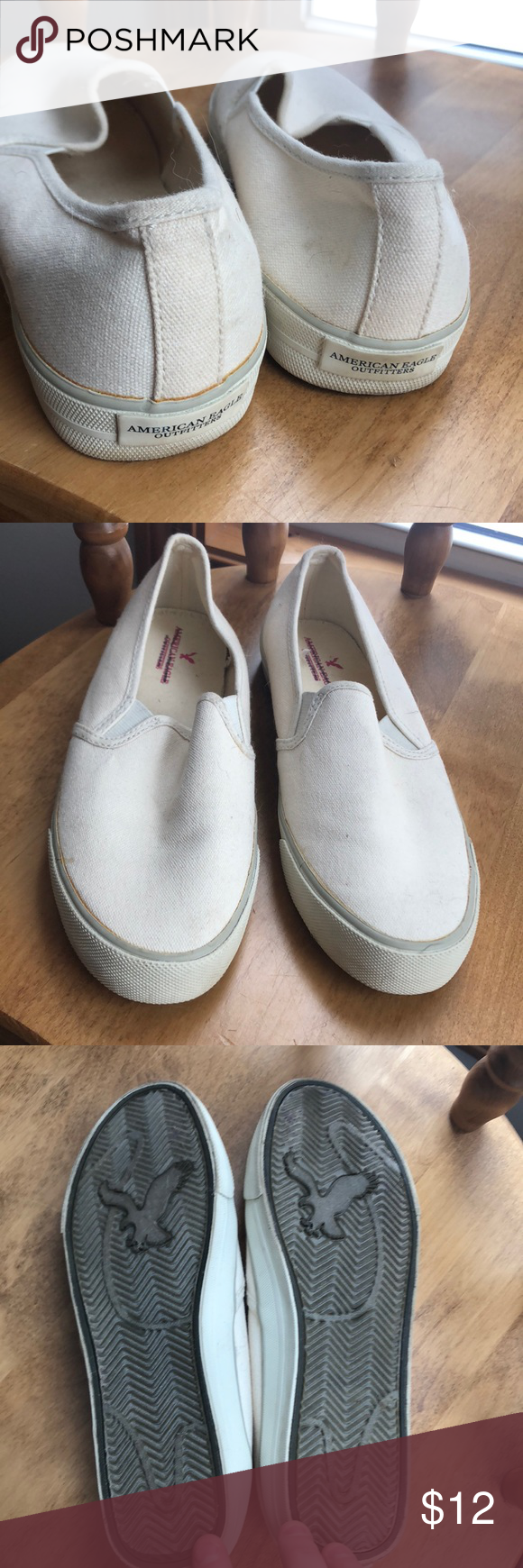 American Eagle Size 8 Cream Slip On Sneakers Colored The Insignia Is Crossed Out These As