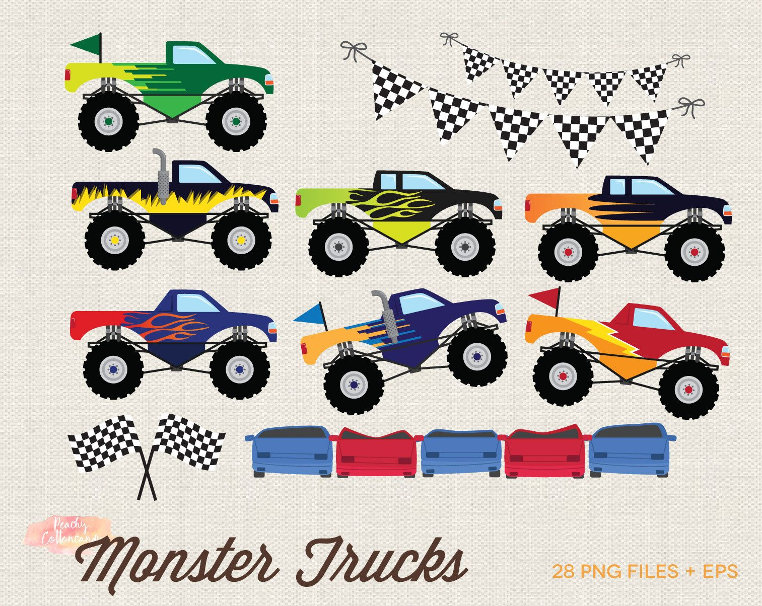 Buy 3 Get 30 Off Monster Truck Clipart Monster Truck Clip Etsy Monster Truck Party Monster Trucks Truck Party