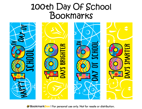 Free Printable Th Day Of School Bookmarks Download The Pdf