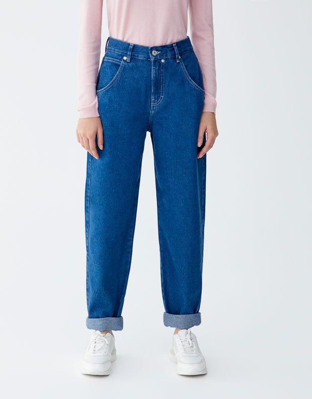 Jeans holgados tiro alto - PULL&BEAR   Pantalones de moda ...