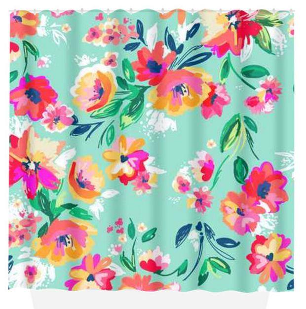 Floral SHOWER CURTAIN Mint Pink Flowers Custom MONOGRAM - Plush bath mat for bathroom decorating ideas