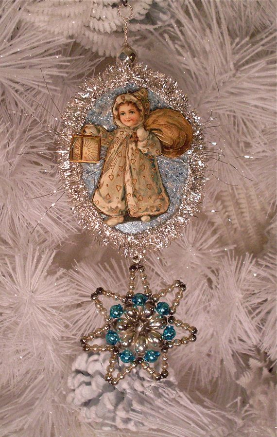 Vintage Style Christmas Ornament Antique Girl Scrap Bohemian Czech Beaded Star Dresden Medallion Edwardian Child Tinsel Blue Mercury Glass