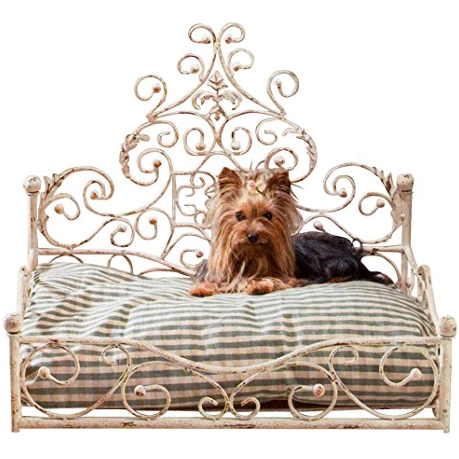 French Iron WHITE SCROLL Dog Pet Cat Bed Victorian Antique