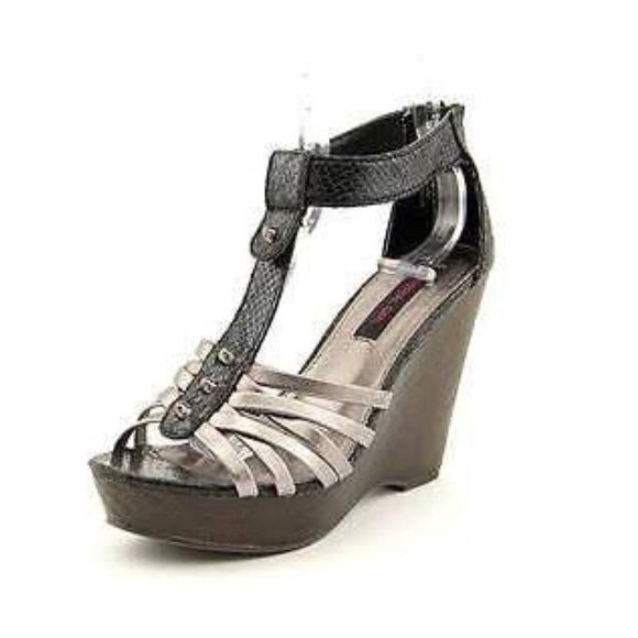Material Girl Tyler Wedge Heel Worn once!  Few blemish on heel Material Girl Shoes Heels