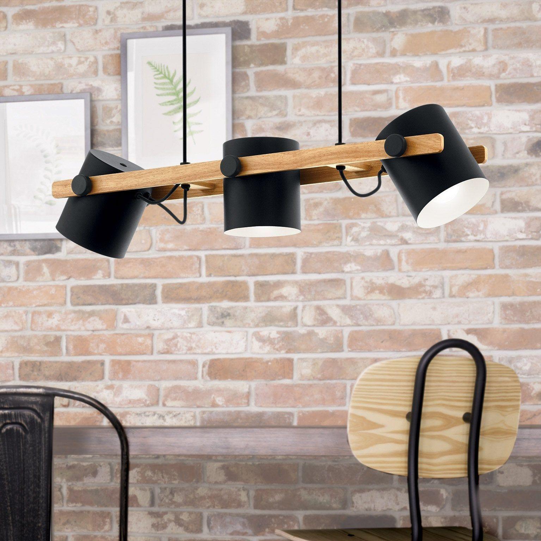 Idee Deco Suspension Salon suspension, industriel acier inoxydable eglo hornwood 3