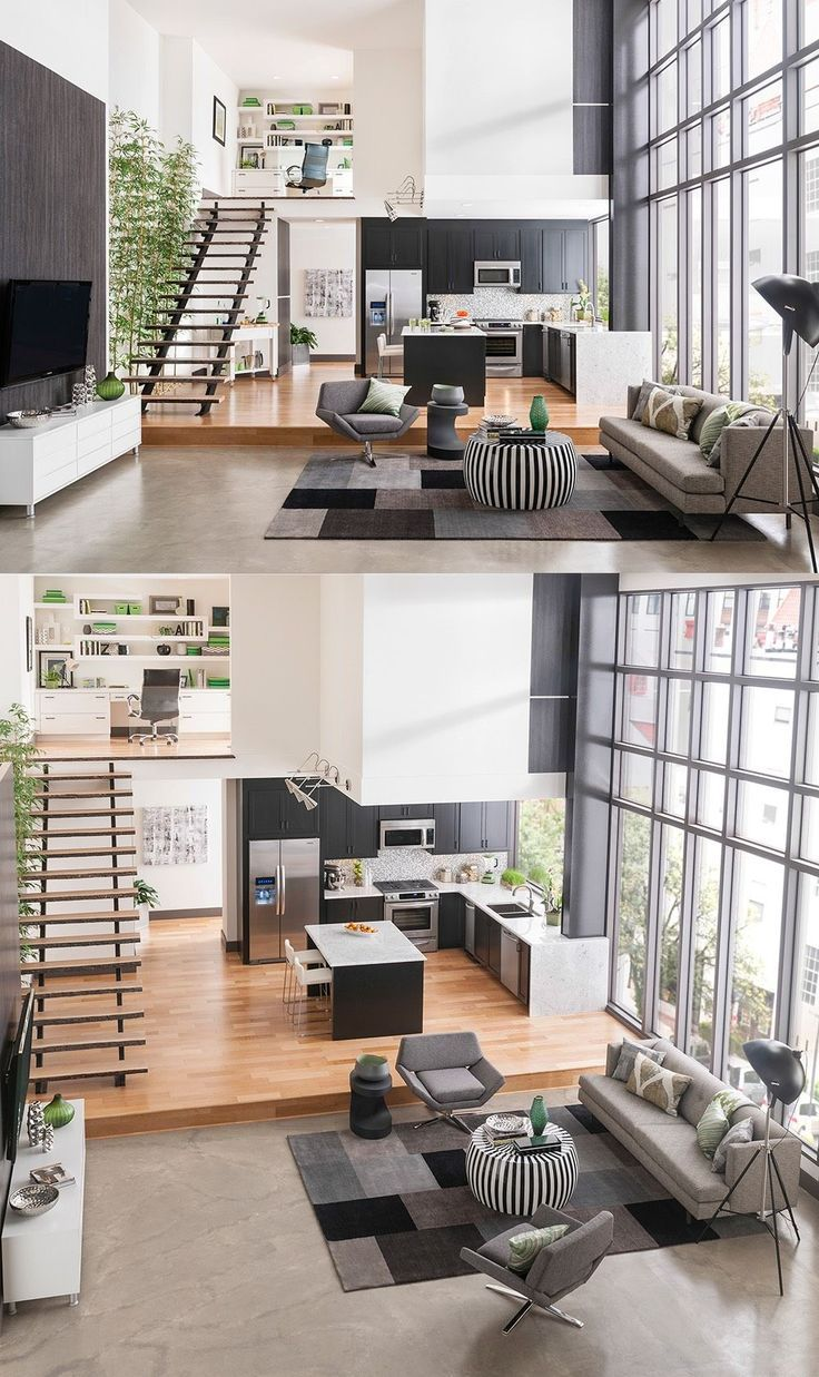 A Platform Elevates The Kitchen And Dining Space Adds More Tiers To Room Upstairs You Can See There Is Home Office With Built In Shelvin