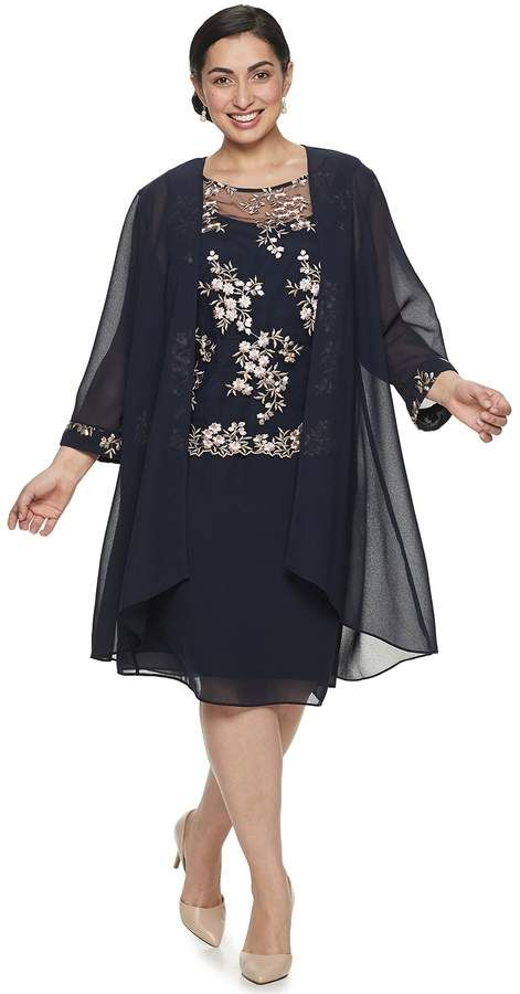 Le Bos Plus Size Floral Lace Embroidered Duster & Dress Set ...