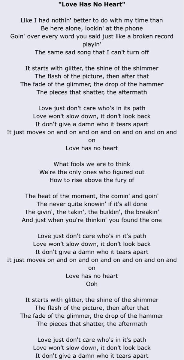 Love Has No Heart Carly Pearce Saddest Songs Lyrics Breakup