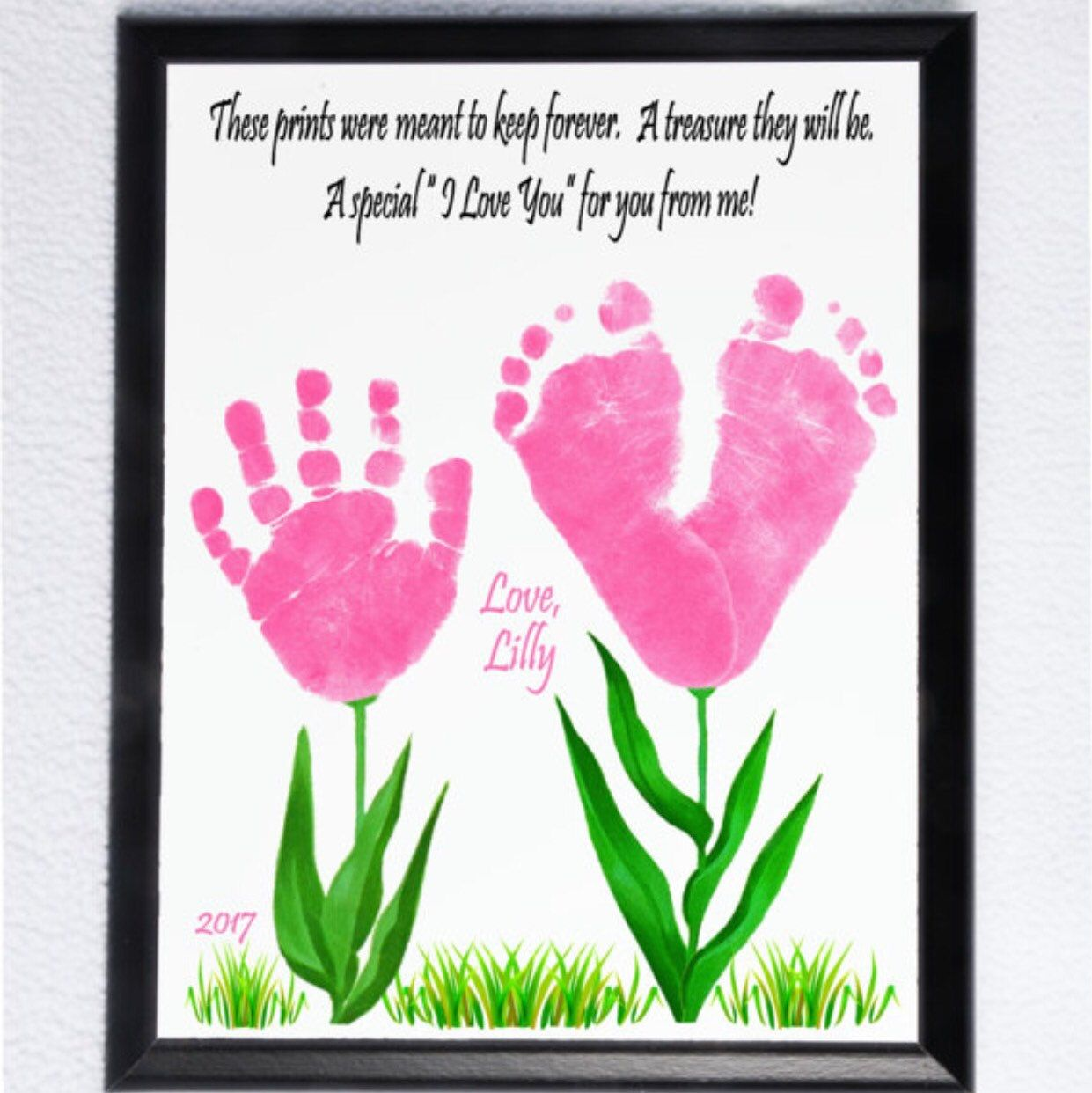 Photo of SIBLING Handprint and Footprint Wall Plaques, Lovely Keepsake Gift for Moms, Dads, Grandparents, Loved Ones. Try out Inkless Print kits too