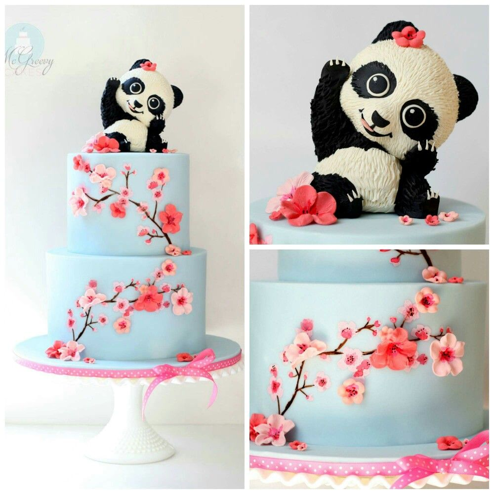Great Cherry Blossoms On Cake Panda Birthday Cake