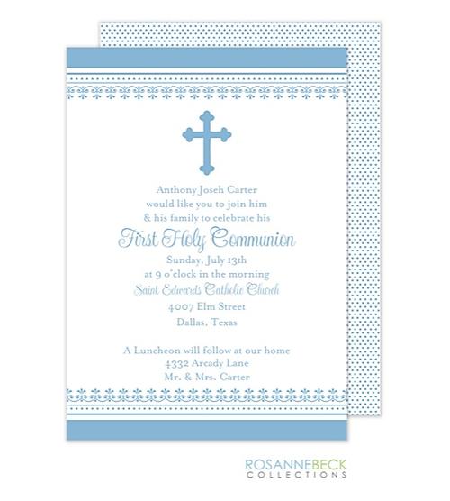 First Communion Invitations Blue Boy Cross First Communion