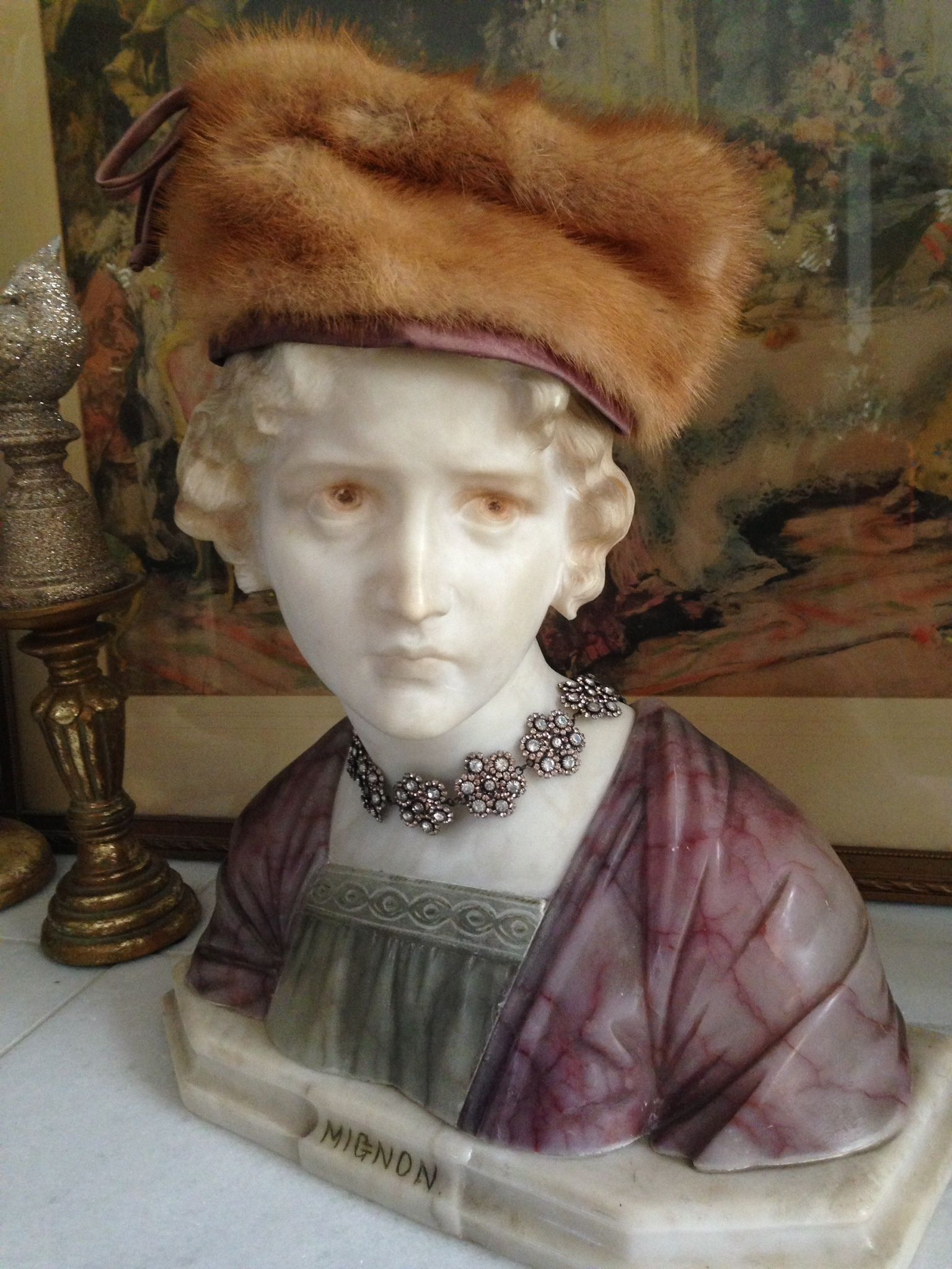 My Favorite Possession! Exquisite Vintage Italian Alabaster & Marble Bust. She Is Wearing A Vintage Mink Hat & Dreamy Choker Necklace.