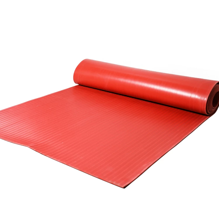 Red Ribbed Rubber Matting Rubber Industry Insulation Sheets Rubber