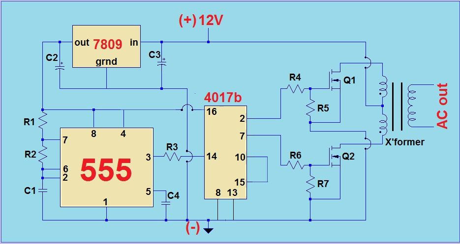 12v 220v Modified Sine Wave Inverter Circuit Simple